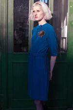 Donna Vestito Abito petroliumblau 40er True Vintage woman dress fatti a mano