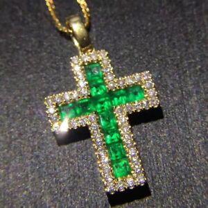 Holy Cross Simulant Emerald Diamond Pendant Locket Silver Yellow Gold Fns NOCHAN