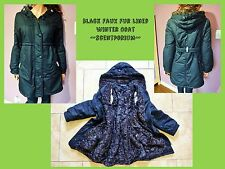 Black Women's Thicken Warm Faux Fur Lined Hooded Winter Jacket Coat Parka - M/L