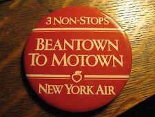 New York Air Airlines Beantown To Motown Boston Detroit Vintage 1980's Lapel Pin