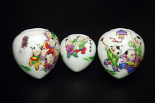 Large Vintage Porcelain Bird Feeders Bowls Cups for Chinese Bamboo Bird Cage