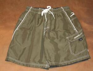 "SPEEDO Medium Olive Green Cargo Swim Trunks Shorts Mesh Lined Waist 28"" Mens"