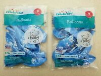 Lot of 2 - 8 piece Baby Boy Balloons 16 Total  - NEW - SHIPS FAST!