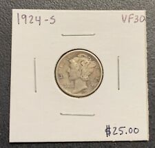 1924-S U.S. SILVER MERCURY DIME ~ VF++ CONDITION! $2.95 MAX SHIPPING! C3262