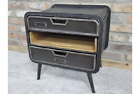 Vintage Style Black / Grey Metal & Wood Quirky Bedside Cabinet Table