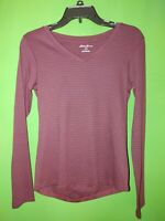 5214) NWOT EDDIE BAUER medium red navy stripe cotton knit tee pullover top new M