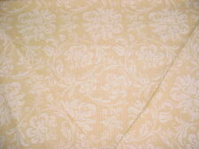 2  P KAUFMANN BROWN / CREME DAMASK  ON MOIRE TICKING DRAPERY UPHOLSTERY FABRIC