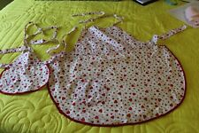 Vintage Little Girl & Dolly Matching Aprons White w/ Red Hearts Mommy & Baby