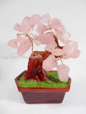 Fen Shui Chinese Japanese Pink Love Rose Stone Quartz Gemstone Bonsai Lucky Tree