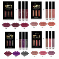 3PCS Waterproof Long Lasting Matte Liquid Lipstick Cosmetic Makeup Lip Gloss Kit