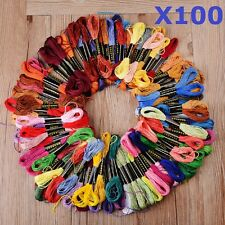 100x Cotton SKEINS COLOURED EMBROIDERY THREAD Cross Stitch Braiding Craft Sewing