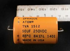 TVA1512 Capacitor Sprague Atom 50uF 250V 8417L 1401 Tube Amp Made in USA 85*C