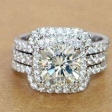 Ring Pretty Set 14K White Gold Over 925 Round Cut Diamond 2.60Ct Engagement Trio
