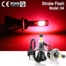 Red H4 9003 Car LED Fog DRL Driving Light  Bulb Switchback With Strobe Flashing