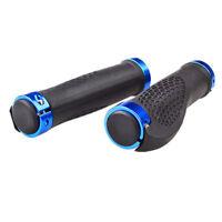 Cycling Handlebars Bike Handlebar LOCK-ON Bicycle Grip Handle Bar Grips Blue