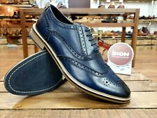 IKON ORIGINALS // Buster // Mens Navy Blue Brogues Shoes // NEW.