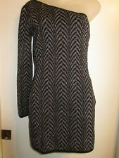 Guess By Marciano S Jaquard Bodycon Dress Black Metallic Silver Cocktail Party