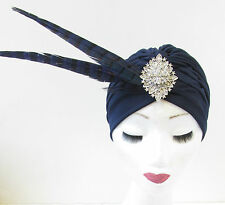 Navy Blue & Silver Feather Turban Headpiece Vintage Fascinator 1920s 1940s T89
