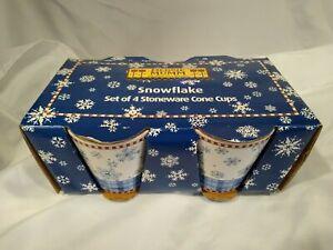 Set of 4 Debbie Mumm Snowflake Coffee, Hot Chocolate, Mugs by Sakura, Christmas