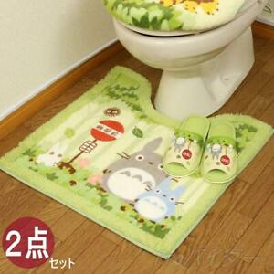 My Neighbor Totoro Toilet Mat Slippers 2 Set Green 60×60cm Studio Ghibli Japan