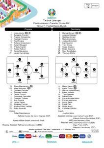 France v Germany UEFA Team sheet Euro 2020 Press Pack