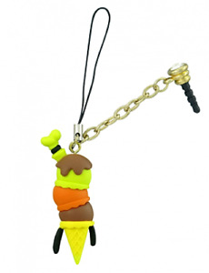 Disney Goofy Ice Cream Cone Cell Phone Charm D-Lish Treats Mobile Keyring Rubber