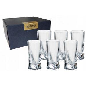 6 Quadro Deluxe Bohemian Crystal 50ml Tall Vodka Shot  Glasses Twisted Shaped