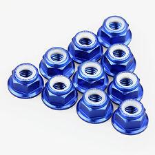 10PCS ALIENTAC Aluminum M5 Blue Nylon Hex Insert Flange Collar Self-Lock Nuts