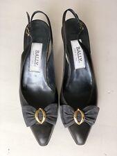 BALLY Women's Vintage Slingback Kitten Heel Black Leather With Bow Sz 9