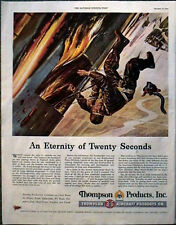 Bombardier Jumps from Burning Plane original WWII Ad