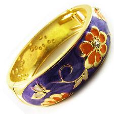 Bracelet CLOISONNE enamal Retro Vintage Style GOLD Crystal colorful charm purple