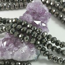 """16"""" Str. 8mm Chinese Crystal Glass Beads Faceted Rondelle Gunmetal"""