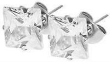 Titan Titanium Ohrstecker Ohrringe Zirkonia Brilli viereck Damen Herren 3 mm II