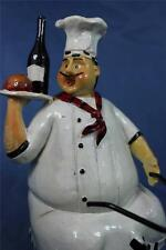 Fat Chef Statue Chef On Bike Statue Bicycle Kitchen Decor w Wine Bottle New