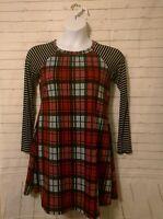 Junior's Egy Red Plaid Long Sleeve Dress, Size L