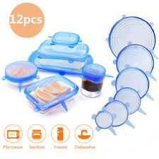 12pcs Stretch Reusable Silicone Bowl Food Storage Wraps Cover Seal Fresh Lids US