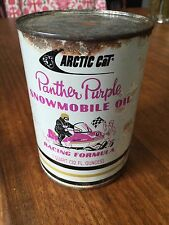 Vintage Arctic Cat Panther Purple Snowmobile Oil Can, drained and empty