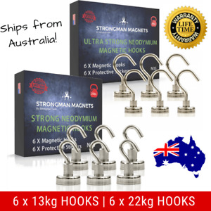 12 Super Strong Rare Earth Magnetic Hooks: 6 Large (22kg) + 6 Small (13kg) Hooks