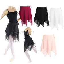 Adulto chifón de Mujer Niña Tutú De Ballet Leotardo Bufanda Envolvente faldas Dancewear Dress