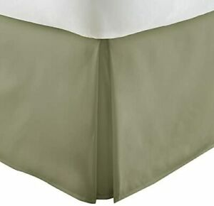 """Pleated Solid Premium Bed Skirt Queen 60""""W x 80""""L by Lenjoy Home  Green"""