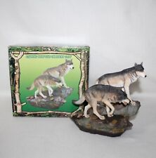 "Stunning 2007 Trippie's Inc ""Stalking Wolf Duo On Rocky Cliff� Figurine Iob"
