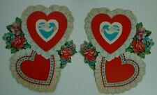 Vintage St Valentine's Day Dennison cutout hearts - lace and flowers - pair