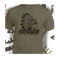 Indian Motorcycles Classic Biker USA Distressed Print Putty T-Shirt