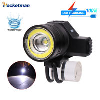 50000LM COB+T6 LED Bicycle Light Rechargeable Zoom 5 Modes Torch Light 18650