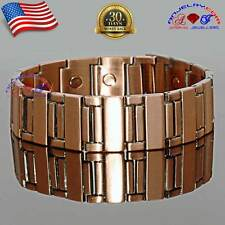 "CHUNKY COPPER LINK MAGNETIC GOLF BRACELET MEN ARTHRITIS EXTRA WIDE 11/16"" A160"