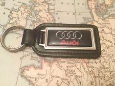 AUDI Negro calidad Piel Auténtica Negro LLAVERO rectangular A Q 1 2 3 4 5 6 7 8R