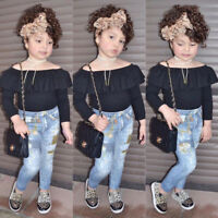 Fashion Toddler Kids Baby Girls Black Tops Jeans Pants Clothes 2pcs Outfit Set