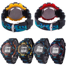 Child Boys Waterproof LED Digital Date Military Rubber Quartz Alarm Sport Watch