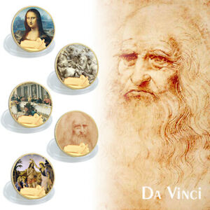 WR 5PCS Da Vinci Famous Painting Gold Foil Coin Set 500th Anniversary Souvenir