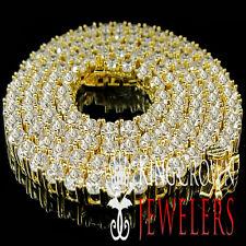 MENS LADIES 14K YELLOW GOLD FINISH LAB DIAMOND 1 ROW TENNIS NECKLACE CHAIN 20''
